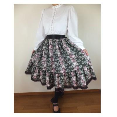 フォークダンス衣装◆裾回り4mグレーのばら柄2段ティアードスカートSK132