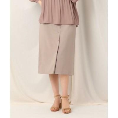 Couture Brooch/クチュールブローチ フロントボタンタイトスカート タバコブラウン(054) 42(LL)