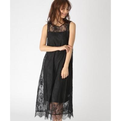 ドレス チュールレースロングドレス