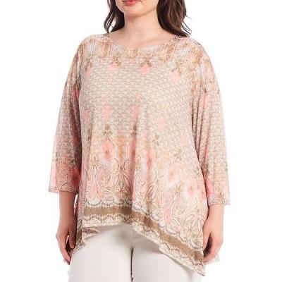 ルビーロード レディース Tシャツ トップス Plus Size Embellished Border Burnout Print Scoop Neck Handkerchief Hem Top Rattan Multi
