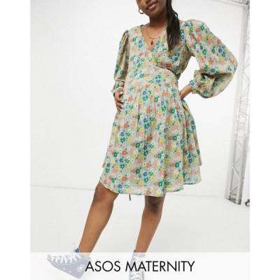 エイソス ASOS Maternity レディース ワンピース Asos Design Maternity Long Sleeve Tie Wrap Around Mini Skater Dress In Green Based Floral