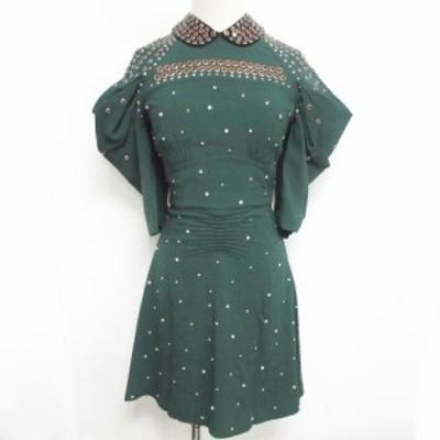 【中古】未使用品 ミュウミュウ miumiu 18SS ビジュー付き ワンピース 襟付き ストーン 装飾 ドレス ドレープスリーブ 緑 36