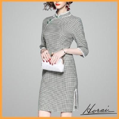 ドレス 七分袖 ミニ丈 チャイナドレス風 スタンドカラー チェック スカート ワンピース フォーマル 結婚式 20代 30代 お取り寄せ