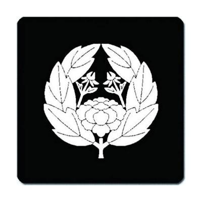 家紋 捺印マット 六つ葉抱き牡丹紋 11cm x 11cm KN11-3083W 白紋
