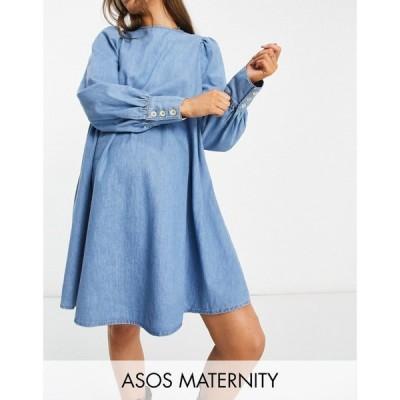 エイソス ASOS Maternity レディース ワンピース デニム マタニティウェア Asos Design Maternity Soft Denim Puff Sleeve Smock Dress In Midwash ブルー