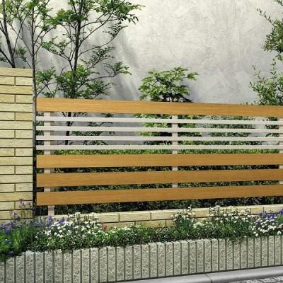 フェンス 外構 おしゃれ YKKAP ルシアスフェンスH04型 本体 T120 アルミ+木調カラー 『アルミフェンス 柵 H1000mm用』 2021