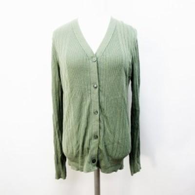 【中古】ノーリーズ Nolley's カーディガン リブニット 綿 コットン 100% 38 Mサイズ相当 緑 グリーン系 レディース