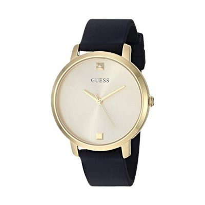 GUESS Women's Stainless Steel Analog Watch with Silicone Strap, Gold (Model