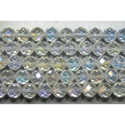 天然石カット10mm 水晶レインボーAB(オーロラ) 半連 約18-20cm half-cut1010