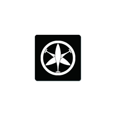 家紋シール 中輪に二つ組み櫂紋 24cm x 24cm KS24-2340W 白紋
