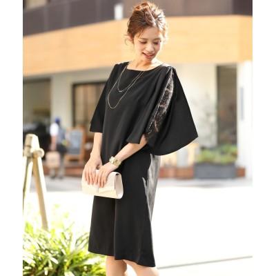 レース使いフレア袖ワンピースドレス (ワンピース)Dress