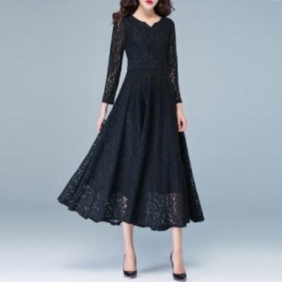 総レース パーティードレス ロング 袖あり 大きいサイズ 3l 4l ロングドレス 黒 長袖 結婚式 お呼ばれドレス 20代 30代 40代 花柄