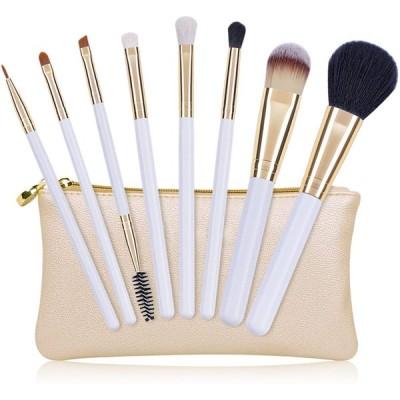 化粧筆 メイクブラシ 8本セット ゴールドの化粧ポーチ付き メイク道具 化粧筆 ファンデーションブラシ 化粧ブラシ フェイス