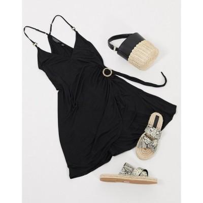 アクセサライズ ミディドレス レディース Accessorize jersey ring detail dress in black エイソス ASOS ブラック 黒