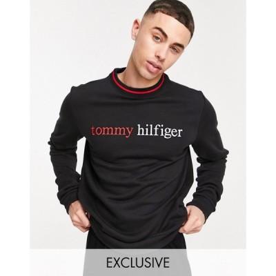 トミー ヒルフィガー Tommy Hilfiger メンズ スウェット・トレーナー トップス ASOS exclusive lounge sweatshirt with chest logo in black ブラック