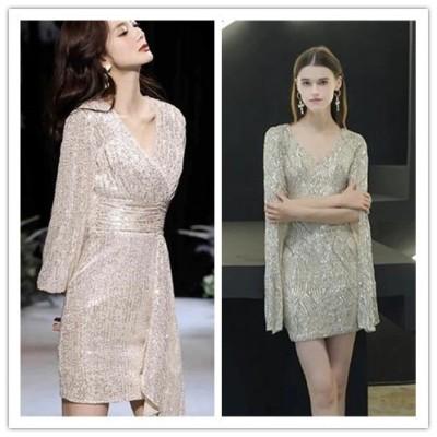 [55555SHOP]スパンコール ついた小さなイブニングドレス女性2021年 新しい宴会 気質短いスタイルハイエンド 雰囲気 ある女性 ドレスオーラクイーン