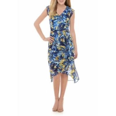 ナインウェスト レディース ワンピース トップス Women's Flutter Sleeve Ruffle Bodice Wrap Dress Mariner Blue Multi