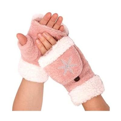 [Flammi(フレミ)] ミトン手袋 レディース 半指グローブ 指なし コンバーチブル 2 WAY グローブ (ピンク Free Size)