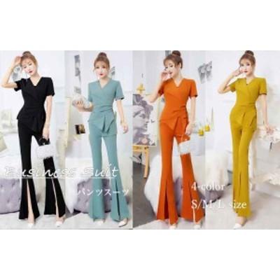 スーツ レディース パンツスーツ 大きいサイズ パンツ OL スーツ スリットパンツ 半袖スーツ スリット パンツ 韓国 ファッション セット