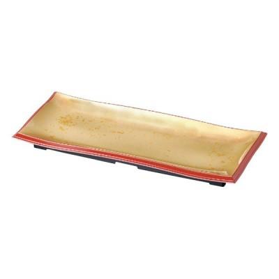 (業務用・長角皿)尺3寸長手清流盛器 色紙金箔渕朱(入数:5)