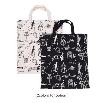 [ベージュ]学生の女の子のための漫画Muscial Instrumentsのパターン洗える綿布ハンドバッグ音楽トートショルダー食料品ショッピングバッグ