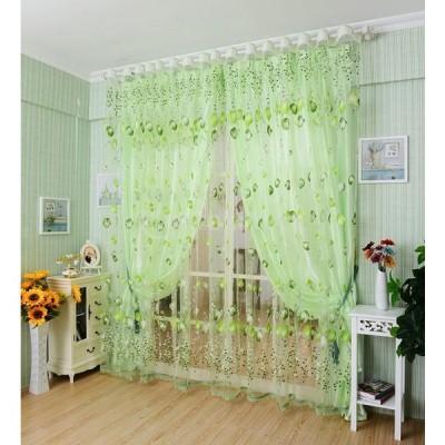 薄手 ボイル カーテン レースカーテン 装飾 約 200×100cm 多種類選べる  - グリーン, ビーズなし