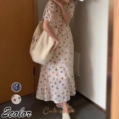 レディースワンピース夏40代マキシワンピースシフォン半袖パフスリーブvネックワンピースオシャレ花柄ゆったり韓国風