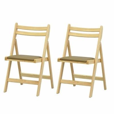 木製折畳チェア 2脚セット ナチュラル 代引不可