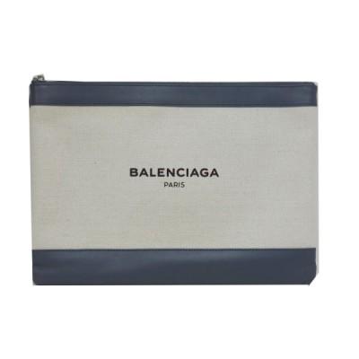 BALENCIAGA 「ネイビークリップM」ロゴクラッチバッグ ナチュラル×グレー サイズ:- (新宿店ANNEX) 210306