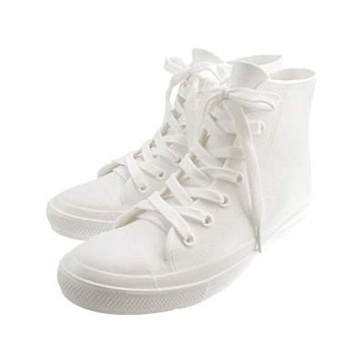 [mino'aka] レインシューズ ハイカットスニーカー [2サイズ/ホワイト] レインブーツ 雨靴 長靴 おしゃれ (ホワイト M)