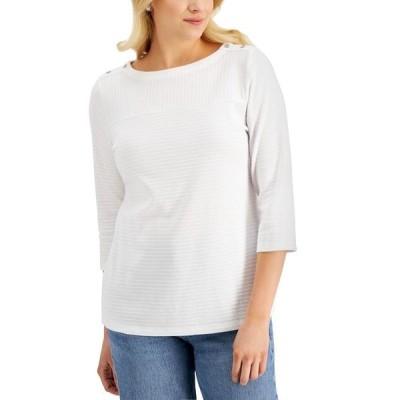 ケレンスコット カットソー トップス レディース Textured Button-Shoulder Top, Created for Macy's Bright White