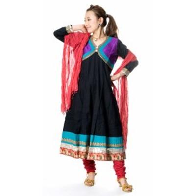 【送料無料】 パンジャビ ドレス3点セット ブラック / インド パンジャビドレス パンジャービードレス サルワール カミーズ 民族衣装 レ