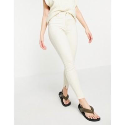 リバーアイランド レディース デニムパンツ ボトムス River Island high rise straight cut jeans with slit hem in ecru Ecru