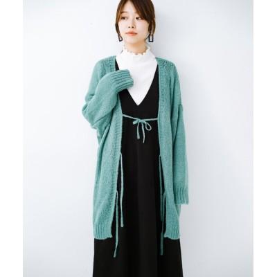 【ハコ】 ゆるゆるゆる編みで軽やかにかわいくなれる 前後ろ2WAYカーディガン レディース ミント M haco!