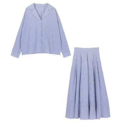 ユアーズ ur's ストライプシャツ×スカートセットアップ (ブルー)