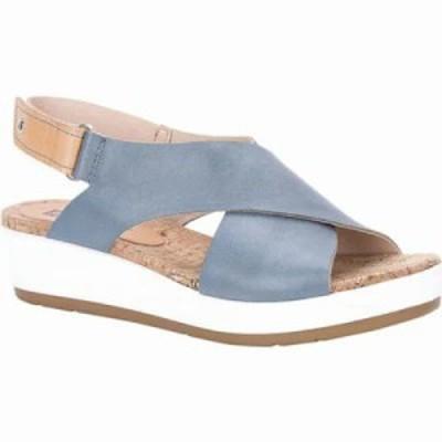 ピコリノス サンダル・ミュール Mykonos Slingback W1G-0757 Blue/Camel Leather