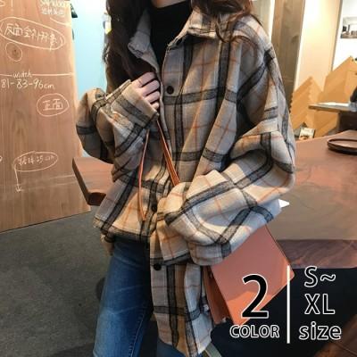 シャツ ネルシャツ レディース チェック柄 オーバーサイズ タータンチェック 長袖 ゆったり アウター 秋冬
