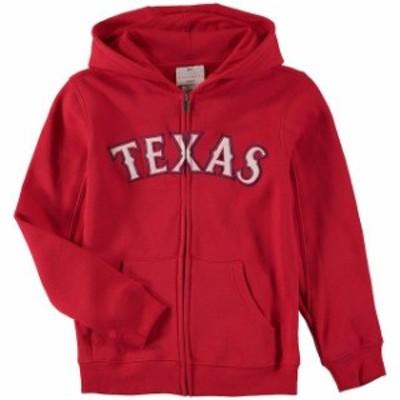 Outerstuff アウタースタッフ スポーツ用品  Texas Rangers Youth Red Wordmark Full-Zip Hoodie