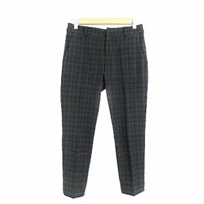 【中古】スピック&スパン ノーブル Spick&Span Noble パンツ テーパード センタープレス チェック 36 緑 グリーン