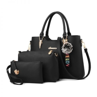 女性用トートバッグ&ショルダーバッグ&ポーチ 3点セット ストラップ ハンドバッグ かばん レディース鞄 PUレザー