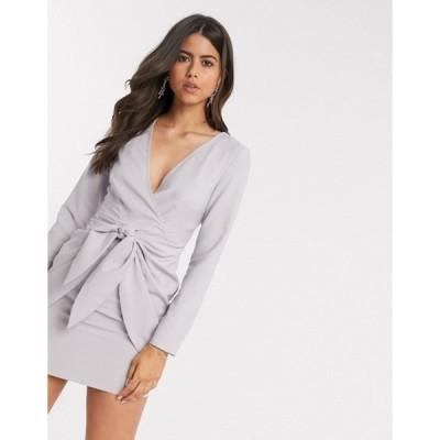 エイソス レディース ワンピース トップス ASOS DESIGN wrap front mini dress with knot skirt detail in gray