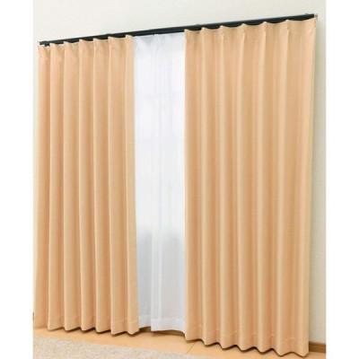 カーテンチアフル カーテン4枚セット 商品名:ブライト/色:パステルオレンジ(2級遮光カーテン:幅100cm×丈215cm ×2枚+ミラーレース幅10