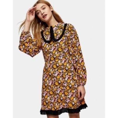 トップショップ レディース ワンピース トップス Topshop oversized collar mini dress in floral print Multi