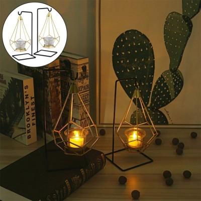 リビングルームとバスルームの装飾用の2つの幾何学的な金属ティーライトキャンドルホルダーのセット-結婚式とダイニングルーム、テーブルと棚の装飾