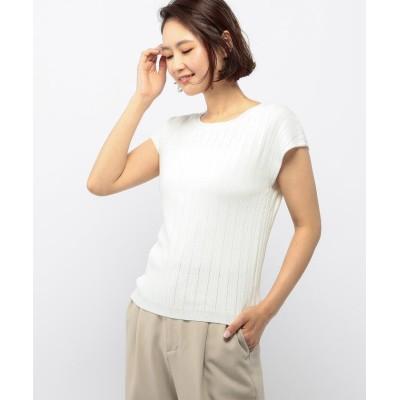 【ミューズ リファインド クローズ】 接触冷感フレンチスリーブニット レディース シロ M MEW'S REFINED CLOTHES