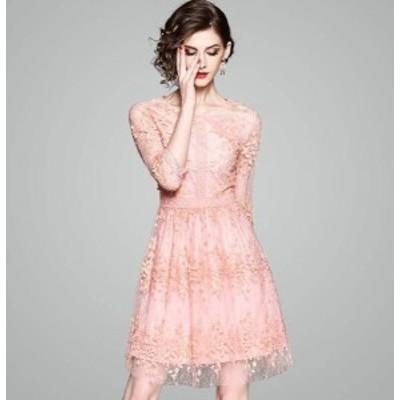 パーティードレス 花柄 レース 刺繍 七分袖 ピンク 膝上丈 ミニ丈 透け感 可愛い エレガント パーティー 結婚式 二次会 お呼ばれ