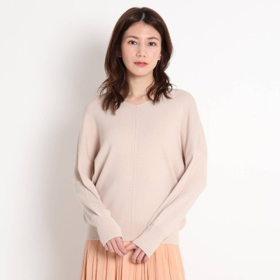 デッサン Dessin 【S~L】春カラー センターラインニット (ライトベージュ)