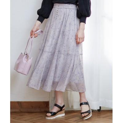 【洗える】シャイニーチューリッププリント スカート