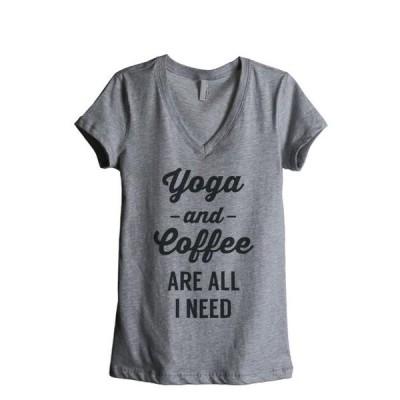 レディース 衣類 トップス Thread Tank Yoga and Coffee Are All I Need Women's Relaxed V-Neck T-Shirt Tee Heather Grey Medium