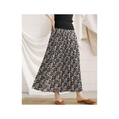 WEB限定シックフラワープリーツロングスカート